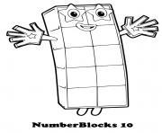 numberblocks 10 ten dessin à colorier