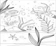 fond marin algues et poissons de mer dessin à colorier