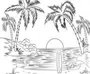 mer de plage dessin à colorier