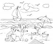 enfants sur une plage en bord de mer dessin à colorier