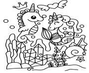 licorne sous la mer fond marin dessin à colorier