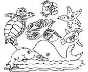 animaux de la mer dessin à colorier