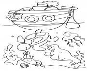 fond de mer et animaux marins avec bateau de mer dessin à colorier