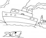 monde de la mer bateau marin dessin à colorier