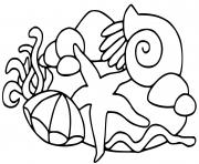 etoile de mer plage dessin à colorier