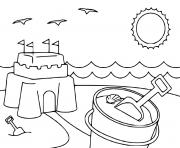 plage chateau de sable dessin à colorier