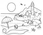 plage paysage de mer dessin à colorier