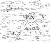 vacance mer fille a la plage dessin à colorier