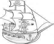 bateau pirate avec son capitaine dessin à colorier