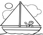 bateau facile avec soleil et capitaine dessin à colorier