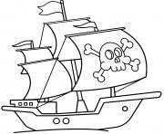 bateau pirate facile dessin à colorier