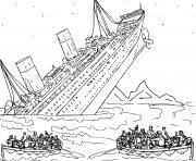 bateau titanic qui coule dessin à colorier