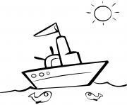 bateau maternelle poissons et soleil dessin à colorier