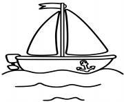 bateau voilier et moteur facile dessin à colorier