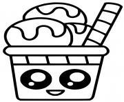 creme glace kawaii dessin à colorier