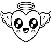 ange coeur kawaii dessin à colorier