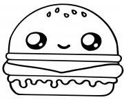 cute hamburger food kawaii dessin à colorier