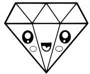 diamant kawaii dessin à colorier