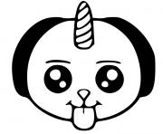 chat licorne kawaii dessin à colorier