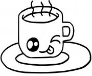 cute cup of hot chocolate or coffee kawaii dessin à colorier