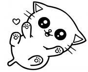 chaton mignon kawaii dessin à colorier