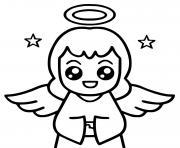 ange kawaii dessin à colorier