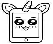 telephone licorne kawaii dessin à colorier