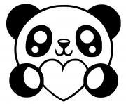 panda coeur kawaii dessin à colorier