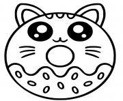 donut beigne chat kawaii dessin à colorier