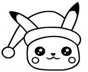 pikachu noel kawaii dessin à colorier