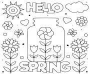 hello spring fleurs et soleil dessin à colorier