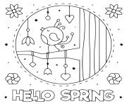 hello spring avec oiseau qui chante dessin à colorier