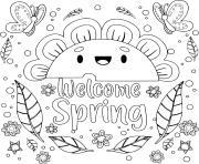 le printemps avec soleil et fleurs avec papillons dessin à colorier