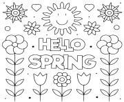 hello spring bonjour printemps dessin à colorier