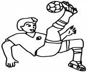 joueur de foot soccer bicyclette dessin à colorier