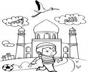 enfant musulman devant la mosque dessin à colorier