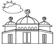 belle mosque pour la priere dessin à colorier
