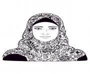 femme voile adulte mandala dessin à colorier