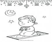 un enfant fait la priere ramadan dessin à colorier