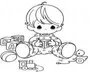 bebe avec ses jouets dessin à colorier