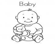 bebe et son nounours dessin à colorier