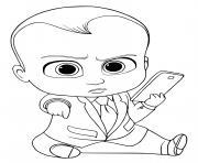 bebe avec un portable dessin à colorier