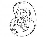 bebe et sa maman dessin à colorier