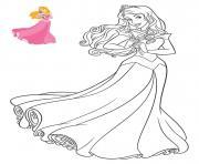 Princesse Disney la belle au bois dormant dessin à colorier