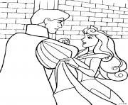 Le prince Philippe et la princesse la belle au bois dormant dessin à colorier