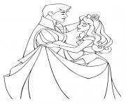 princesse la belle au bois dormant et son prince dancent sur une musique douce dessin à colorier