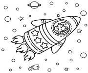 fusee facile espace avec chien dessin à colorier