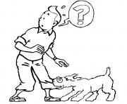 le chien milou retient tintin dessin à colorier