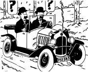 les freres dupont dans une voiture tintin bd herge tintin dessin à colorier