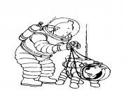 tintin et milou des astronautes dessin à colorier